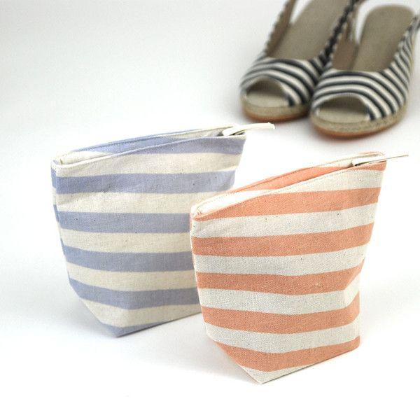 Pastel Blue Slanted Stripes Pouch