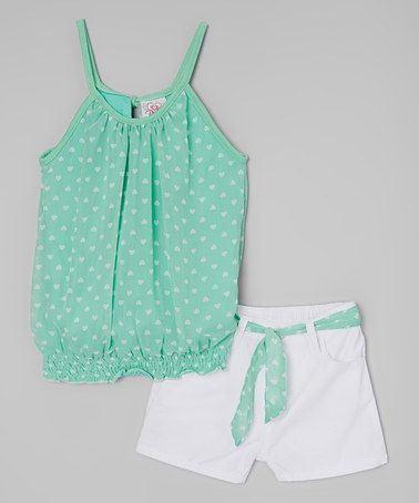 Loving this Mint Heart Tank & Shorts - Infant, Toddler & Girls on #zulily! #zulilyfinds