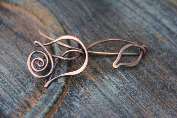 Shawl pin scarf pin copper shawl pin Rose Queen by Keepandcherish