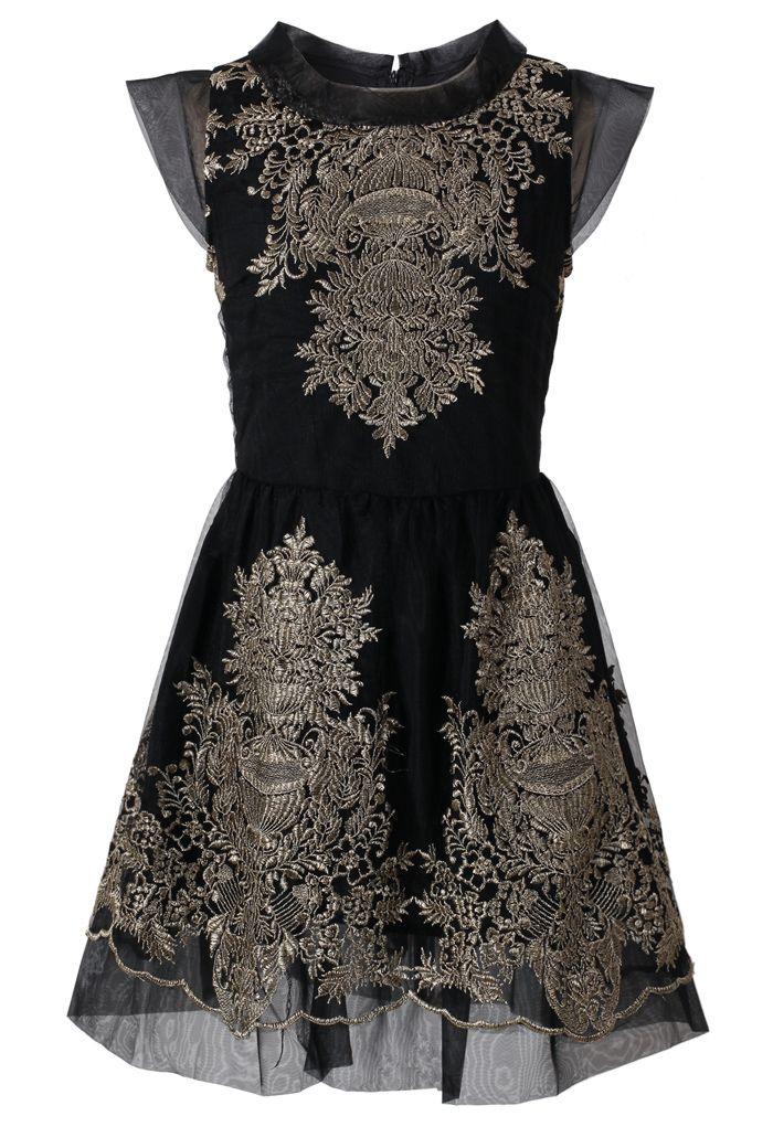 Organza Embroidery Black Dress - Dress - Retro, Indie and Unique Fashion