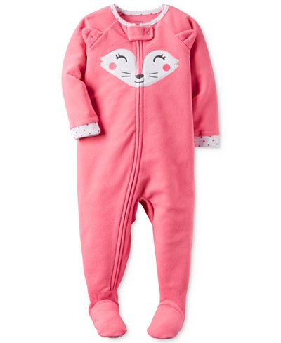 Zip up sweet and snuggly sleepy-time style with Carter's and these adorable footed pajamas, featuring a fun fox theme. | Polyester | Machine washable | Imported | Contrast printed crew neck and sleeve
