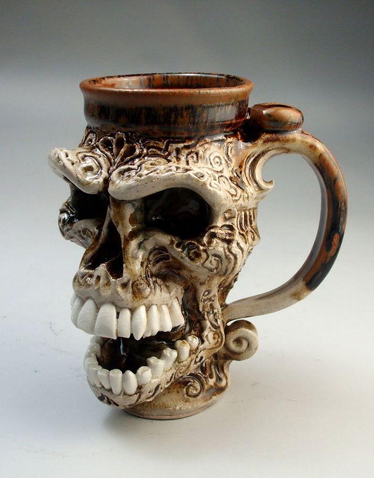 Skull Face Mug Jug Pottery Folk Art Functional Sculpture