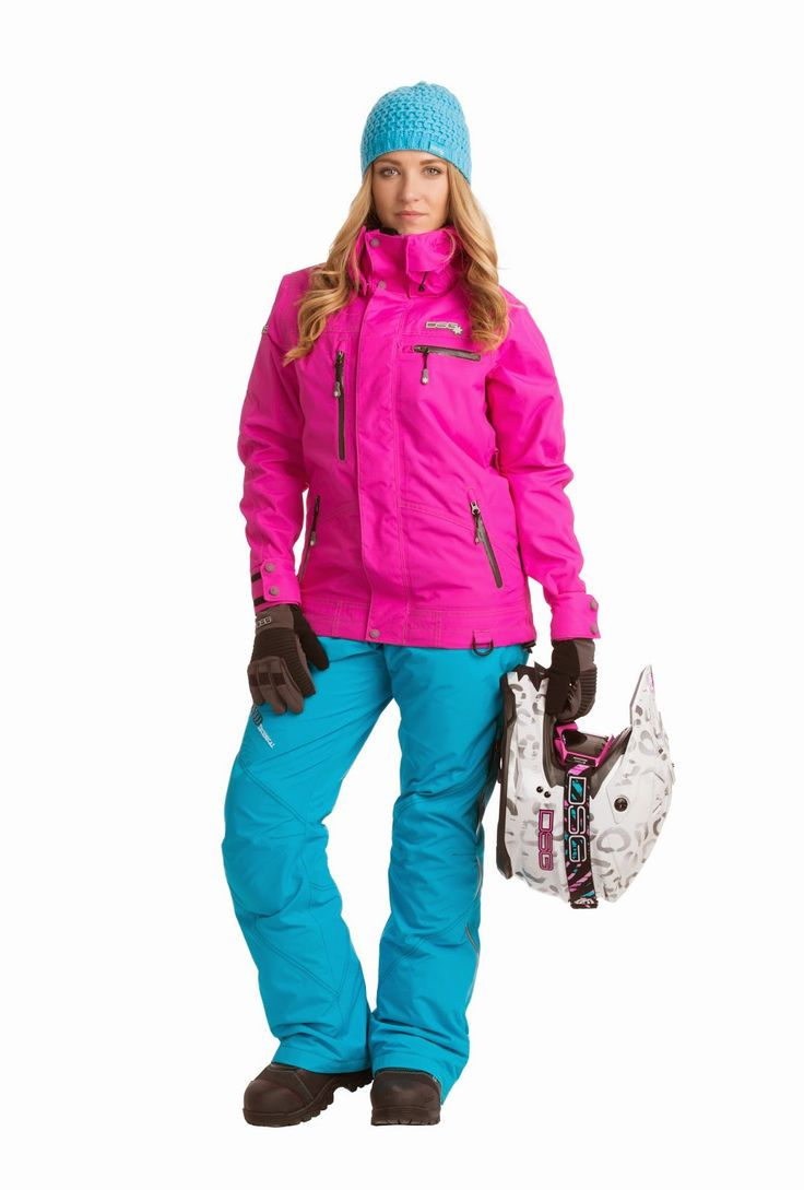 Aynsley is Wearing a DIVA's Hot Pink Technical Snowmobile Jacket; her Snowmobile Pants are Robin Egg Blue.