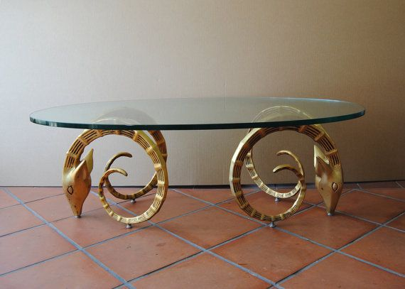 vintage gilt metal ibex ram's head coffee table base, hollywood