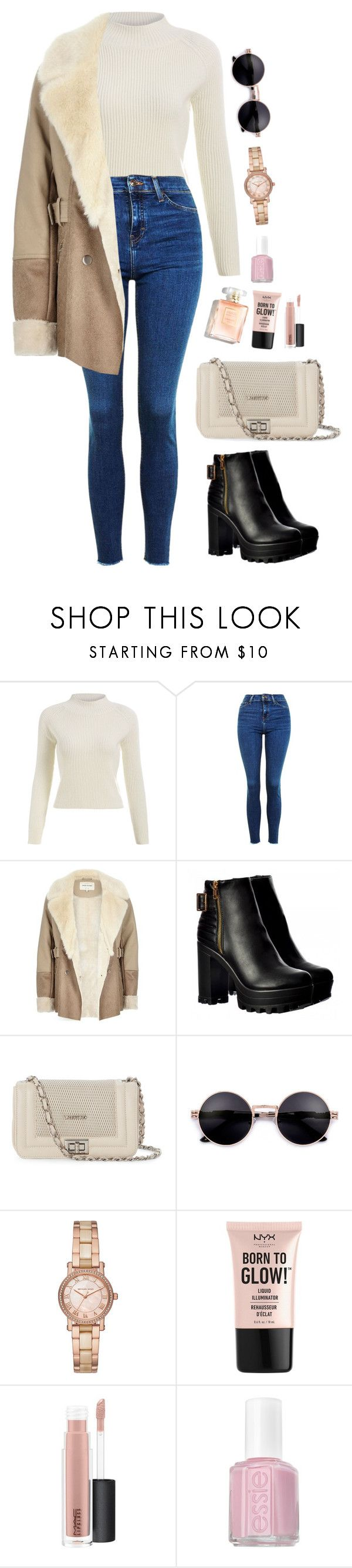 """Long time no see."" by krys-imvu ❤ liked on Polyvore featuring Topshop, River Island, Mario Valentino, Michael Kors, NYX, MAC Cosmetics and Essie"
