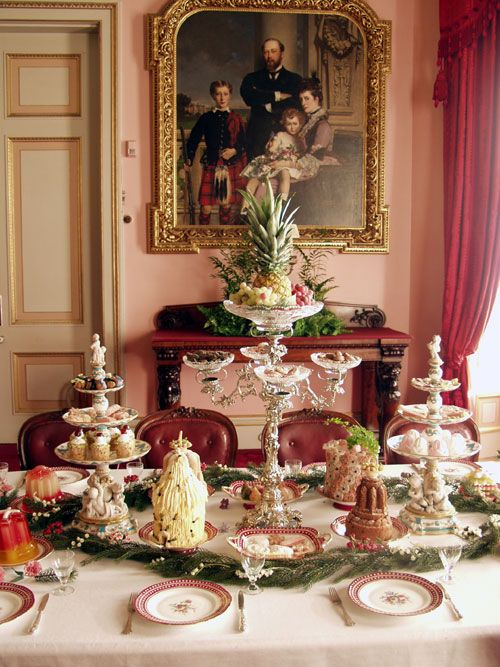 The Queen had a great liking for tablware manufactured by Minton and bought a number of pieces from them at the Great Exhibition in 1851. The confectionery and sweet entremets include darioles of nougat filled with Chantilly cream, moulded Queen Cakes, miniature bavaroises and a myriad sweetmeats made with original Victorian moulds. The epergne and dessert service are from the Osborne House collection and can normally be seen displayed in the Table Decker's Room below the dining room.