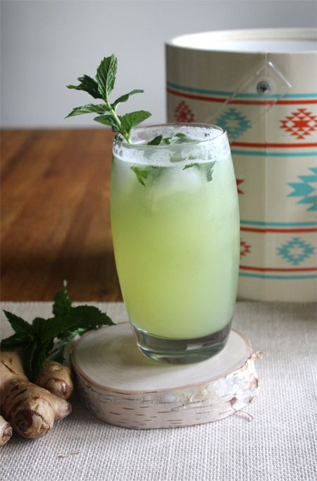 Fresh Honeydew Ginger Mojito: rum + honeydew + soda water + ginger simple syrup