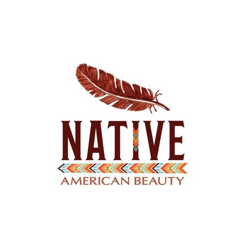 Logo for natural organic beauty line. As symbolism I hand-drawn feather and  add line with ornaments below the name Native. These details reminiscent of Native American People.
