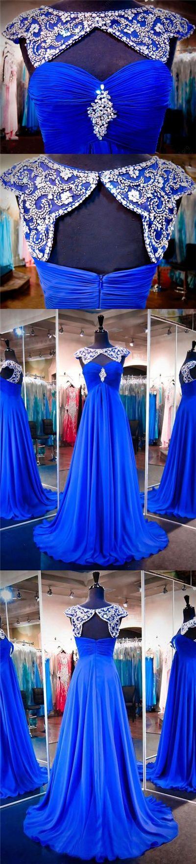 Chic Prom Dresses Bateau Sweep/Brush Train Chiffon Royal Blue Prom Dress/Evening Dress JKL291#royalblue #royalbluedress #longdress #longpromdress #promdresses #sequins #rhinestone #sweetheart #fashion #style #dance #dancewear