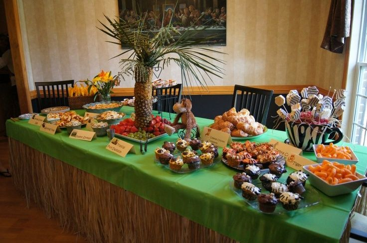 Jungle Theme Baby Shower Food Table  Ideas