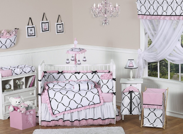 Princess 9 pc Crib Bedding set has all that your little bundle of joy will need. Let the little one in your home settle down to sleep in this incredible nursery set. This baby girl bedding set features a stunning JoJo Designs black and white designer Check out our awesome princess theme baby nursery. Take an additional 10% with coupon Pin60 at www.CreativeBabyBedding.com