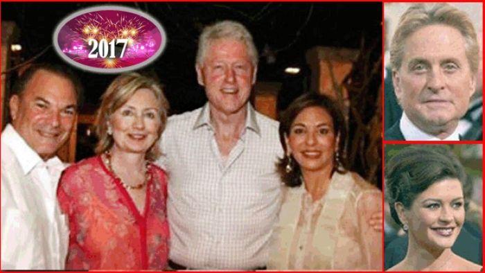Bill y Hillary Clinton, Henry Kissinger, Annette De La Renta, Michael Douglas y Katherine Zeta Jones esperan 2017 en Punta Cana