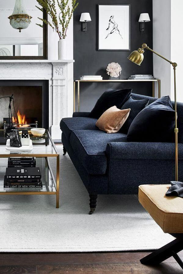 The Dark Blue Couch And Black Wall Of This Room Are A Strong Contrast Against The Lighter Aspects In 2021 Living Room Inspiration Living Room Designs Living Room Grey Living room ideas uk 2021