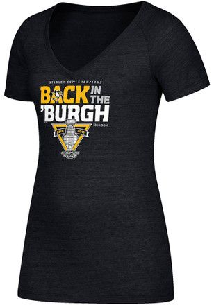 Reebok Pitt Penguins Womens  2017 Stanley Cup Champions V-Neck