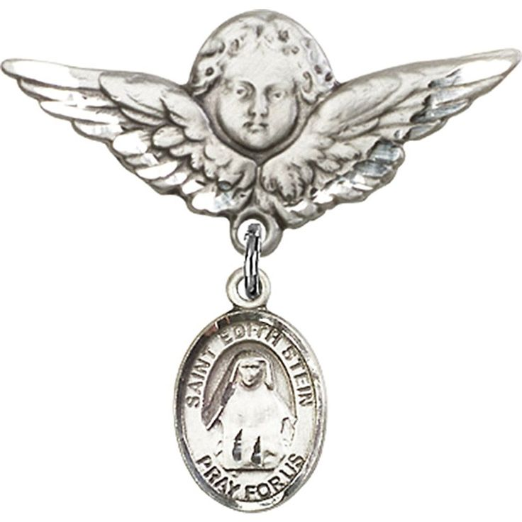 Sterling Silver Baby Badge with St. Edith Stein Charm and Angel w/Wings Badge Pin 1 1/8 X 1 1/8 inches ** Click image for more details.