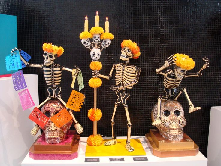 Días de los Muertos decorations - skulls, flowers, skeletons