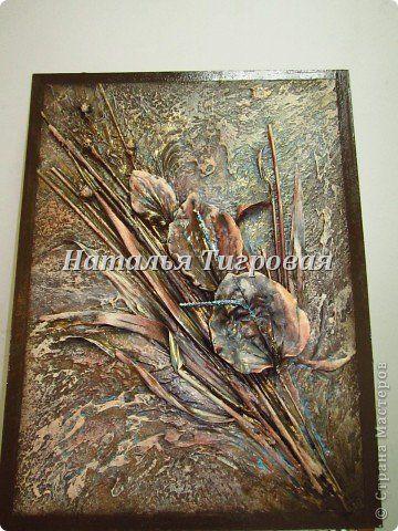 Картина панно рисунок Коллаж Терра  Подорожник Гипс Материал природный фото 1
