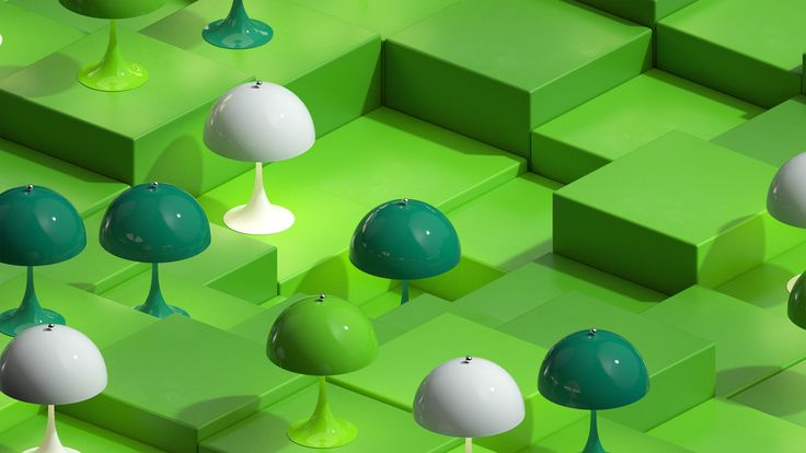 Here it's the Green, Blue/Green & White version of Panthella MINI from our latest campaign video. Panthella MINI is a smaller version of Verner Panton's classic Panthella lamp from 1971.