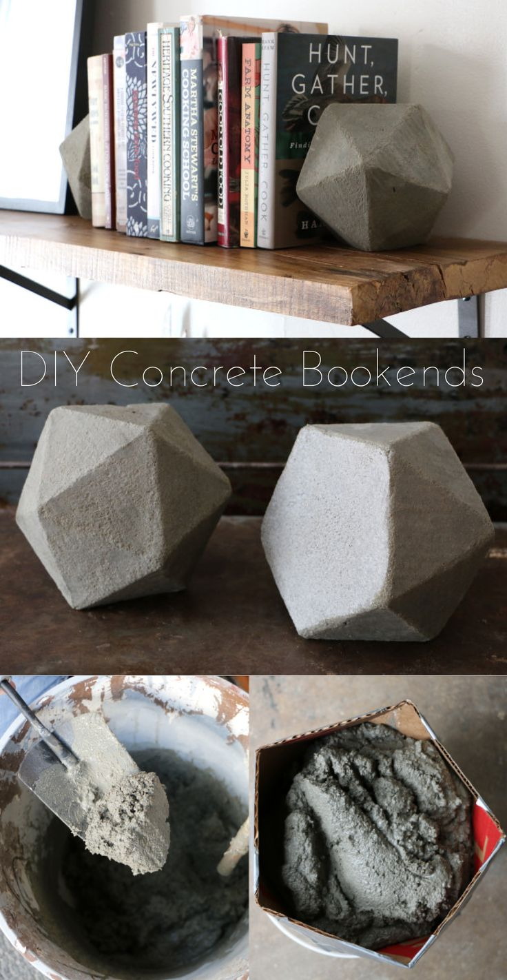 So cool! These would costs tons at a furniture store, but you can easily make these at home! DIY instructions here: http://www.ehow.com/ehow-home/blog/diy-geometric-concrete-bookends/?utm_source=pinterest.com&utm_medium=referral&utm_content=blog&utm_campaign=fanpage