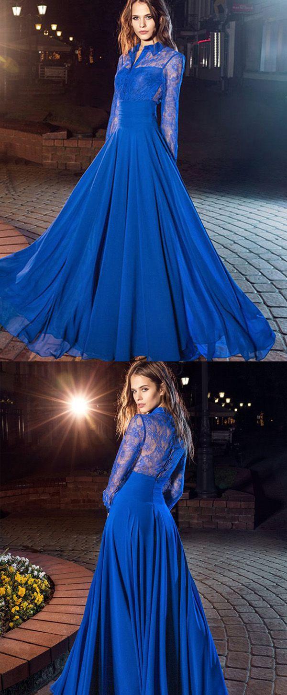 Stunning Lace & Chiffon High Collar Neckline A-Line Evening Dresses