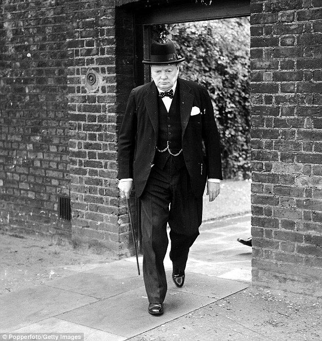 British Prime Minister Winston Churchill pictured en route from Downing Street to make a s...