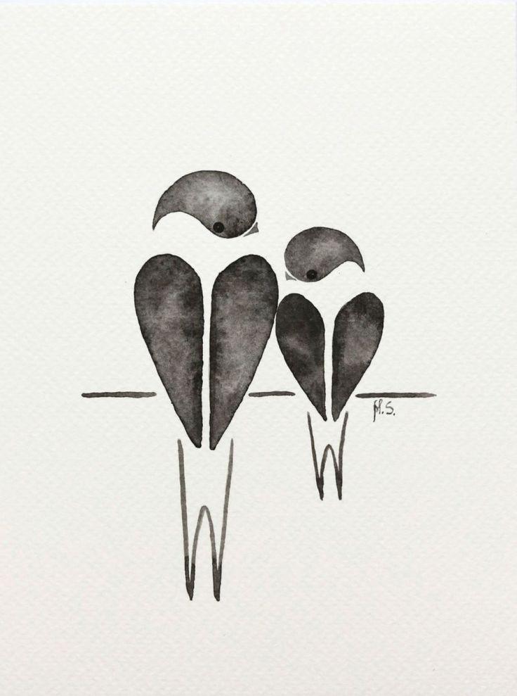 swallows - watercolour by Malgorzata Stepniak