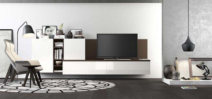 Estetica sottile ed essenziale, elegantemente moderna con i colori a contrasto, laccato opaco carruba e laccato bianco lucido: living Time di Arredo3 Cucine.