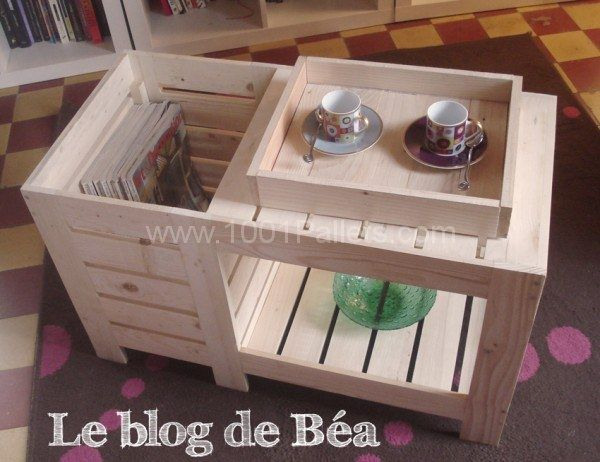 568 best made of wood pallet images on pinterest wood diy and pallet projects - Table basse avec palette ...
