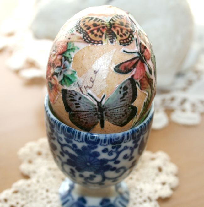 How to Blow and Mod Podge Eggs for Easter in Chic and Crafty, Crafts, Easter Recipes