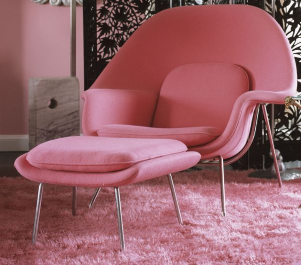 Womb Chair by Eero Saarinen in pink - available at DWR.  This would make a fab #nursery chair