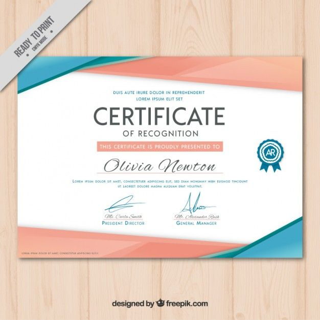 Certificado Moderno Vector Gratis Más · Certificate Of MeritFree  CertificatesCertificate Of Recognition TemplateCertificate ... Throughout Certificate Designs Templates
