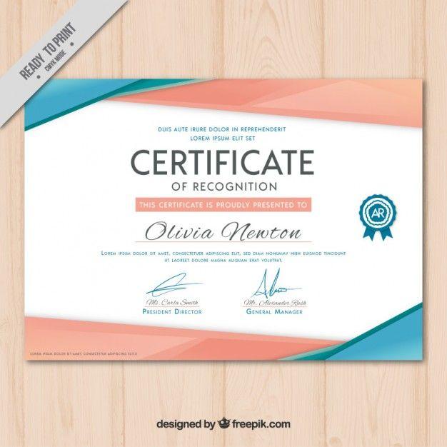 Modern certificate Free Vector
