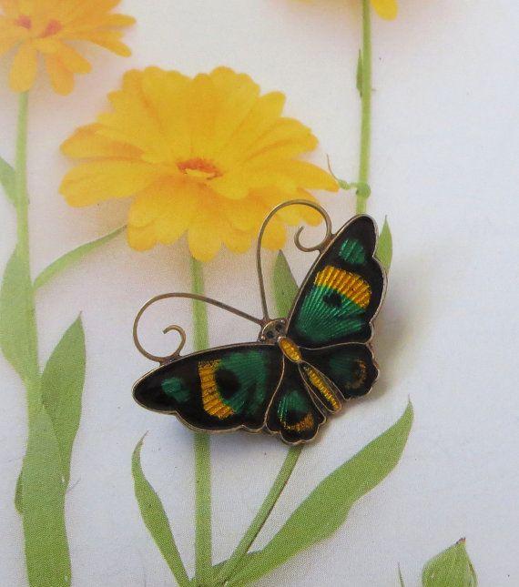 Art Deco Art Moderne David-Andersen Butterfly Pin by baublology #vogueteam #norwaysterlingjewelry #vintagebutterflypin