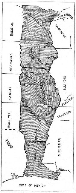Here's the man in the middle of US map. This is a good tool to help students remember where these midwestern states are located.