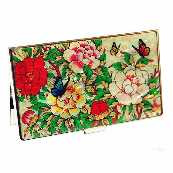 Lacquer Nacre Mother of pearl Business card holder credit ID card case peony flower design