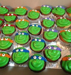 How to make easy ninja turtle cupcakes!