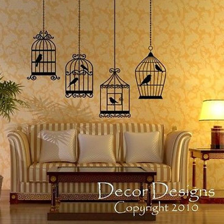 Four Bird Cages Vinyl Wall Decal