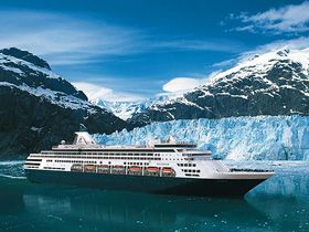 Holland American ship at  Glacier Bay