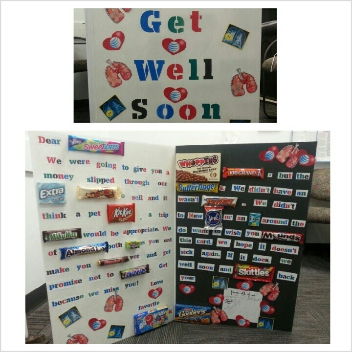 Giant get well candy card for co-worker | get well ideas ...