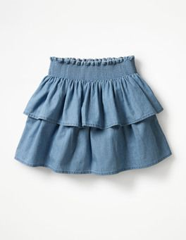 Ruffly Denim Skirt Boden