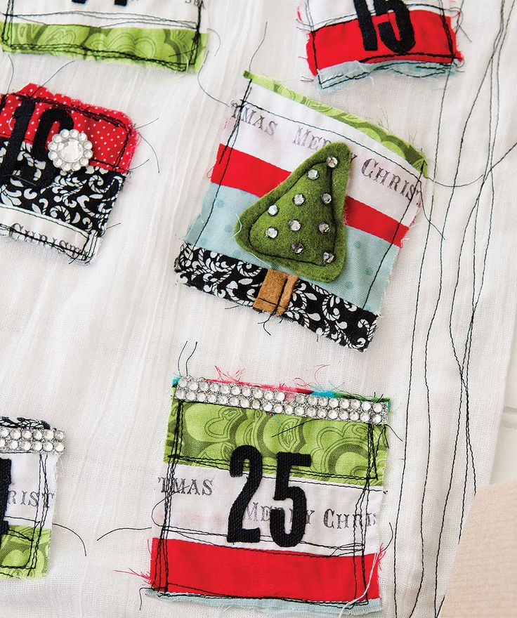 A patchwork advent calendar by Melony Miller Bradley. Find Melony's step-by-step tutorial in Somerset Life Autumn 2014.