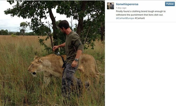 Kevin Richardson - The Lion Whisperer wearing Carhartt Europe Workwear :D