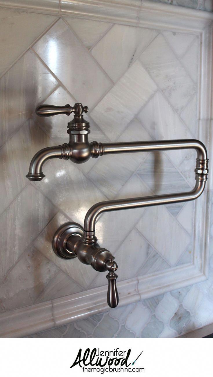 Pot Filler Faucet Idea Here S My New Gorgeous Wall Mounted Kohler Pot Filler Faucet It Carrera Marble Backsplash Pot Filler Faucet Trendy Kitchen Backsplash