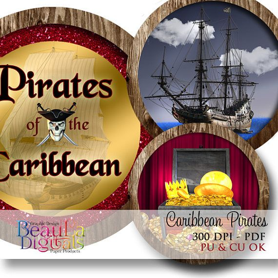 Pirates Caribbean Circles Tags Labels Cupcake Toppers