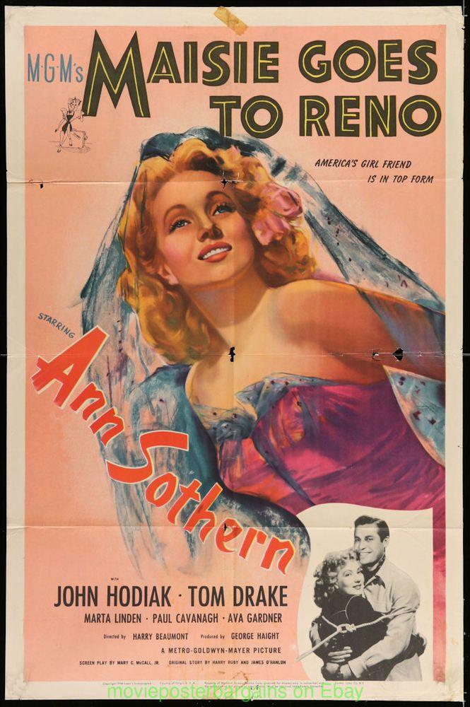 MAISIE GOES TO RENO MOVIE POSTER Original Folded 27x41 ANN SOTHERN 1944