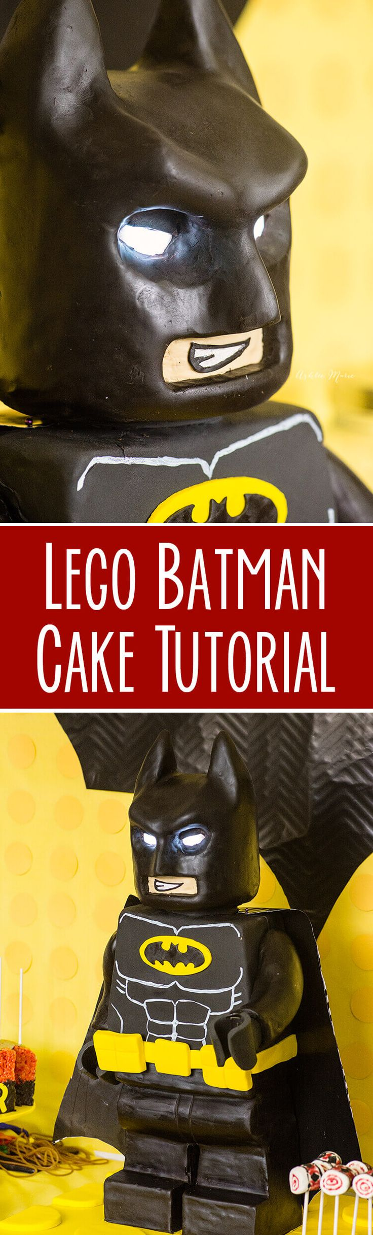 Check out this amazing video tutorial for how to make a standing Lego batman cake - building the internal support system and more - can be used for ANY Lego character cake - full internal (Batman Cake)