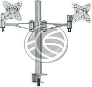 Soporte de monitor de la marca Brateck articulado de sobremesa. Compatible con monitores que dispongan de fijación VESA 75 y VESA 100. Modelo que permite la instalación de dos monitores en el mismo mástil vertical y a la misma altura gracias a sus dos brazos articulados.