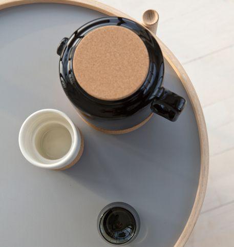 WHISTLER Cork Tea Pot BLACK & tea cup