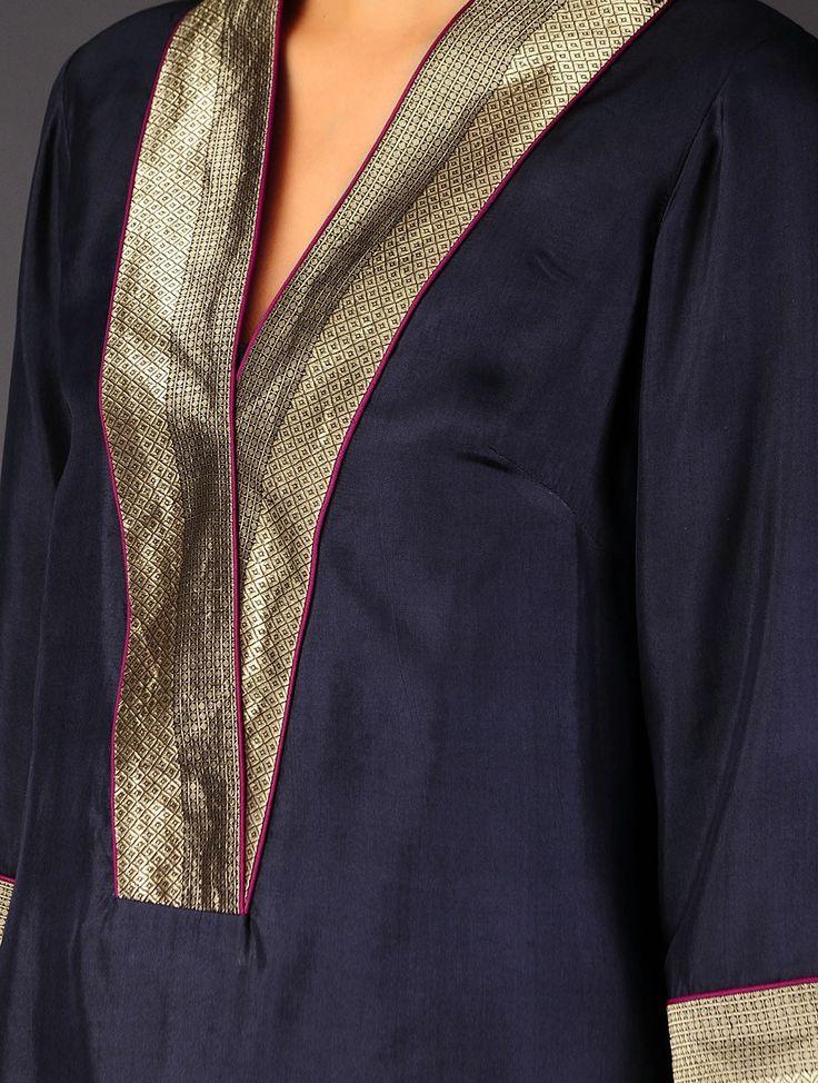 Navy - Golden Brocade Detailed Silk V-Neck Kurta - Buy Apparel > Tunics & Kurtas > Navy - Golden Brocade Detailed Silk V-Neck Kurta Online at Jaypore.com