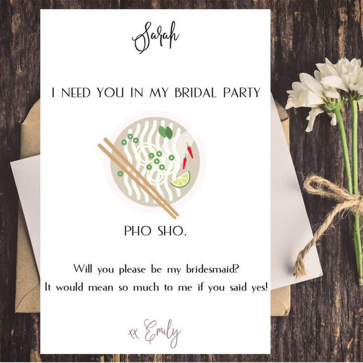 Pho Sho Bridesmaid Proposal Card | Funny Proposal Card | Maid of Honor Funny Proposal Card | Bridesmaid Box by CoupeDePapier on Etsy
